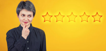 woman thinking if how may stars should be given