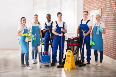 janitors smiling