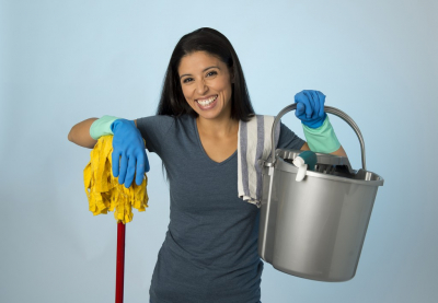 adult woman cleaning